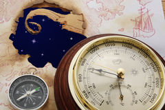 Astral way. Abstract. Astral sky in hole of old chart. Compass and barometer Stock Images