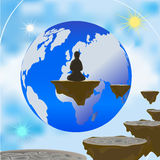 Astral world. A person arrives in meditation sitting on a rock floating in the air and looking at planet earth