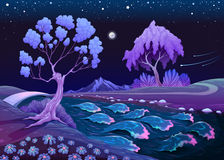 Astrallandschaft mit Bäumen und Fluss in der Nacht