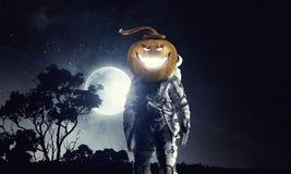 Astranaut Halloween charakter Zdjęcia Royalty Free