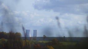 Astravets Central nuclear bielorrusa almacen de metraje de vídeo