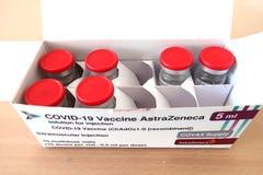 Free AstraZeneca COVID-19 Coronavirus Vaccine, Box With Multidose Vials For 10 Doses Stock Photo - 217710570