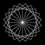 Astrazione bianca del modello di divertimento dei quadrati in un cerchio su fondo nero illustrazione vettoriale