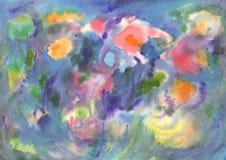 Astrazione dell'acquerello, fiori vivi Pittura astratta illustrazione vettoriale