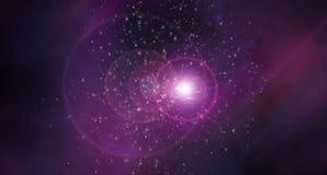 Astrazione dello spazio con effetto di rifrazione della luce - effetto delle macchiette della stella, fondo moderno, generato da  illustrazione vettoriale