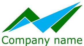 Astrazione di logo, triangoli di verde e di blu, vettore Fotografia Stock