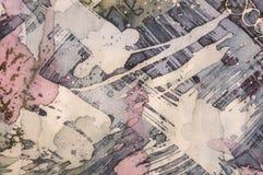 Astrazione, frammento, batik caldo, struttura del fondo, fatta a mano su seta illustrazione di stock