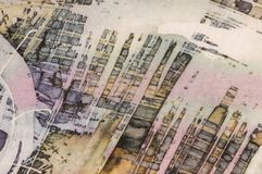 Astrazione, frammento, batik caldo, struttura del fondo, fatta a mano su seta royalty illustrazione gratis