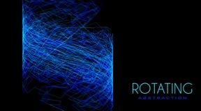 Astrazione girante dalle linee aggrovigliate blu sottili sul nero Struttura complicata illustrazione di stock