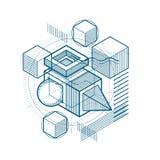 Astrazione isometrica con le linee e gli elementi differenti, vettore illustrazione di stock