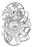 Astrazione Linea di disegno stile di arte Coloritura per gli adulti illustrazione vettoriale