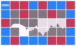 Astrazione luminosa con un paesaggio della montagna delle mattonelle illustrazione di stock