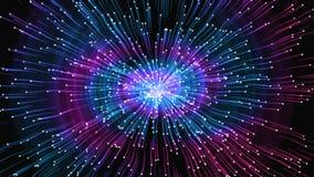 Astrazione luminosa - impulsi nelle direzioni differenti, distorsione di spazio, univers, rappresentazione 3D illustrazione vettoriale