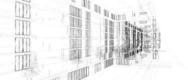 Astrazione moderna di architettura Fotografia Stock