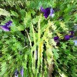 Astrazione nei colori verdi e viola, modello floreale Fotografie Stock Libere da Diritti