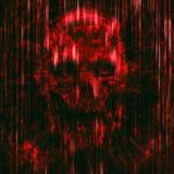 Astrazione terribile del cranio Colore rosso illustrazione di stock