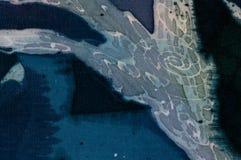 Astrazione, turchese e viola, batik caldo, struttura del fondo, fatta a mano su seta illustrazione di stock
