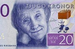 Astrid Lindgren stående på Sverige 20 krona sedelclos 2015 royaltyfria bilder