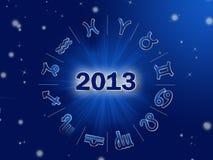 Astro 2013年,与黄道带的占星圈子签字 向量例证