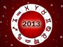 Astro 2013, z zodiakiem horoskopu okrąg podpisuje ilustracji