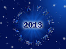 Astro 2013, z zodiakiem horoskopu okrąg podpisuje ilustracja wektor