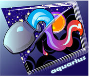 Astro aguarius. Horoscope Post card with decorative frame Royalty Free Stock Photo