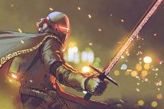 Astro-cavaleiro na armadura futurista que guarda a espada mágica ilustração royalty free