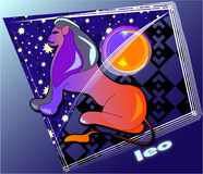 Astro leo. Horoscope Post card with decorative frame royalty free illustration