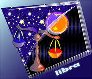 Astro libra. Horoscope Post card with decorative frame stock illustration