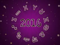 Astro Natal chart, zodiac circle 2016. On the violet background Stock Images