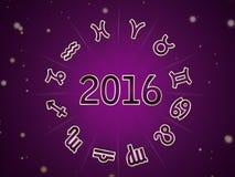 Astro Natal mapa, zodiaka okrąg 2016 ilustracja wektor