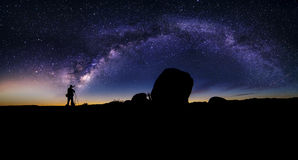 Astro Photographer in the desert and view of Milky Way Galaxy Royalty Free Stock Image