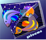 Astro pisces. Post card image vector illustration