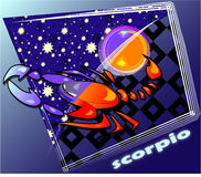 Astro scorpio. Horoscope Post card with decorative frame royalty free illustration