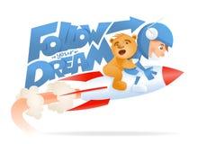 Astroboy with teddy bear on rocket. Follow dream concept Stock Photo