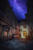 Astrofotografia, gwiaździsty niebo błyszczy przy nocą rocznik retro Obraz Stock