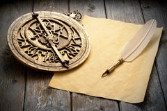 Astrolabe Paper Quill Pen Stock Photos