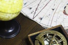 Astrolabium, kula ziemska i mapa, Obraz Stock