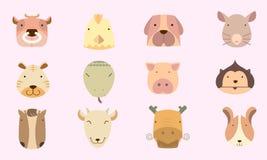 Astrología linda del chino del icono stock de ilustración