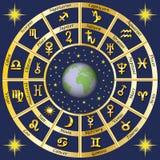 astrología Muestras del zodiaco y de los caracteres de las reglas de los planetas Imagen de archivo libre de regalías