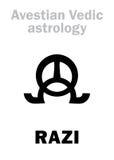 Astrología: planeta astral RAZI stock de ilustración