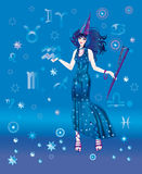 Astrologer with sign of zodiac of Waterbearer Stock Images