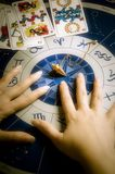 Astrologer at work. Hands of an astrologer over an astrological wheel with tarots and pendulum royalty free stock photo