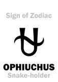 Astrologia: Sinal do zodíaco OPHIUCHUS o Serpente-suporte Foto de Stock Royalty Free