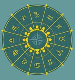 Astrologia symbole w okręgu Fotografia Stock