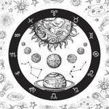 Astrologibegrepp med planeter Räcka utdraget universum, det planetariska systemet och zodiakkonstellationer Linje konsttappningve royaltyfri illustrationer