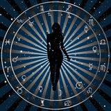 Astrologic zodiac horoscope background with silhouette of woman. vector illustration