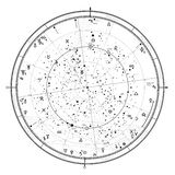 Astrological Celestial map of Northern Hemisphere. Horoscope on January 1, 2019 (00:00 GMT). Detailed outline chart with symbols and signs of Zodiac vector illustration