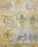 Astrological chart on Burmese calendar. Showing guardian spirits and mythical animals, Myanmar, Burma Royalty Free Stock Photo