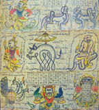 Astrological chart on Burmese calendar Stock Image
